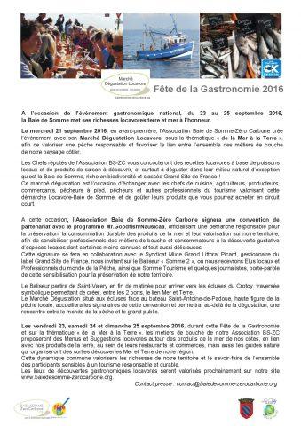 Fete de la Gastronomie Septembre 2016 - Association Baie de Somme Zero Carbone